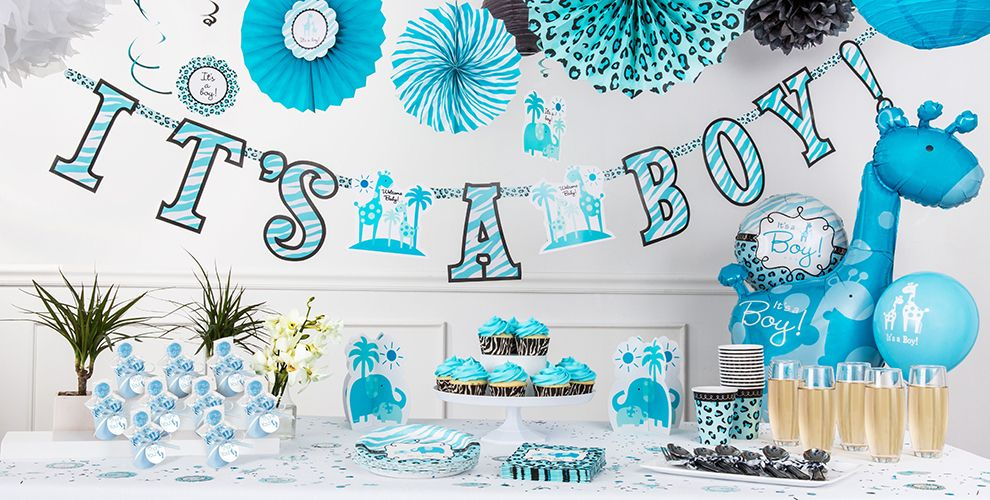 Blue safari baby shower decorations party city canada for Baby shower decoration safari