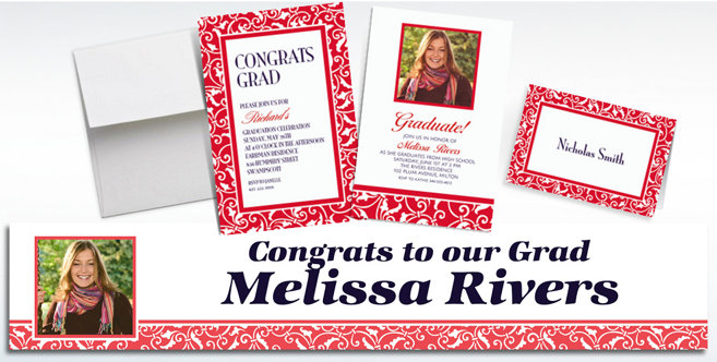 Red Custom Invitations and Banners #1