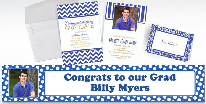 Royal Blue Custom Invitations and Banners #1