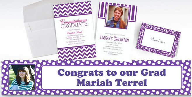 Purple Custom Invitations and Banners #1