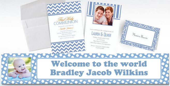 Pastel Blue Custom Invitations and Banners #1