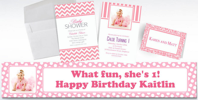 Pink Custom Invitations and Banners #1