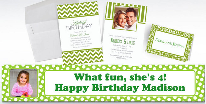 Kiwi Green Custom Invitations and Banners #1