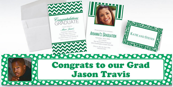 Festive Green Custom Invitations and Banners #1