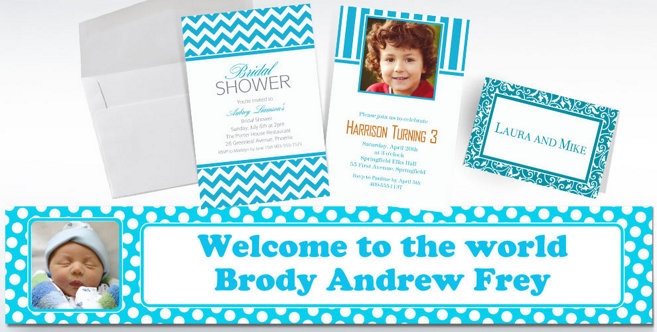 Caribbean Blue Custom Invitations and Banners #1