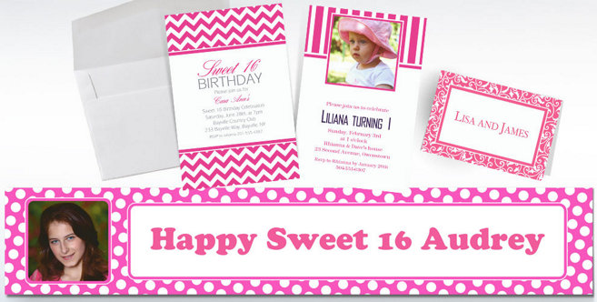 Bright Pink Custom Invitations and Banners #1