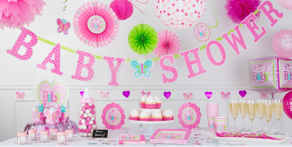 Welcome baby girl baby shower decorations party city for Baby shower decoration themes for girls