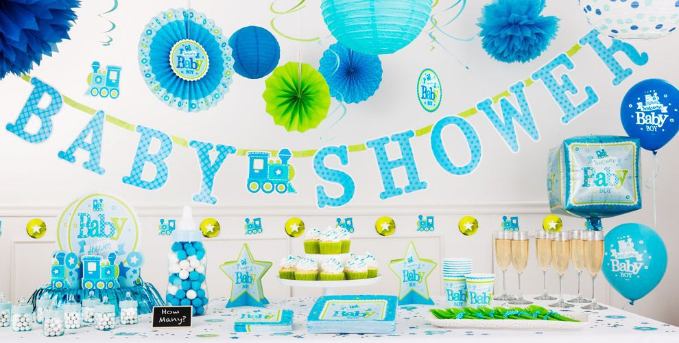 Welcome baby boy baby shower decorations party city for Baby welcome home decoration