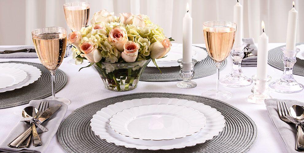 White Premium Scalloped Tableware Party City