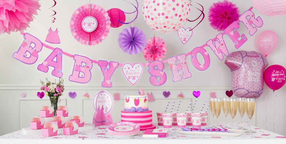 It 39 s a girl baby shower decorations party city for Baby girl shower decoration ideas