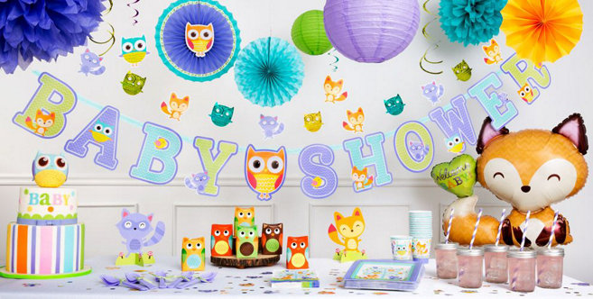 Woodland baby shower decorations party city for Baby full month decoration ideas