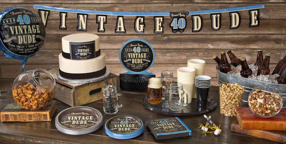 Vintage dude 40th birthday party supplies 40th birthday for 40 year old birthday decoration ideas