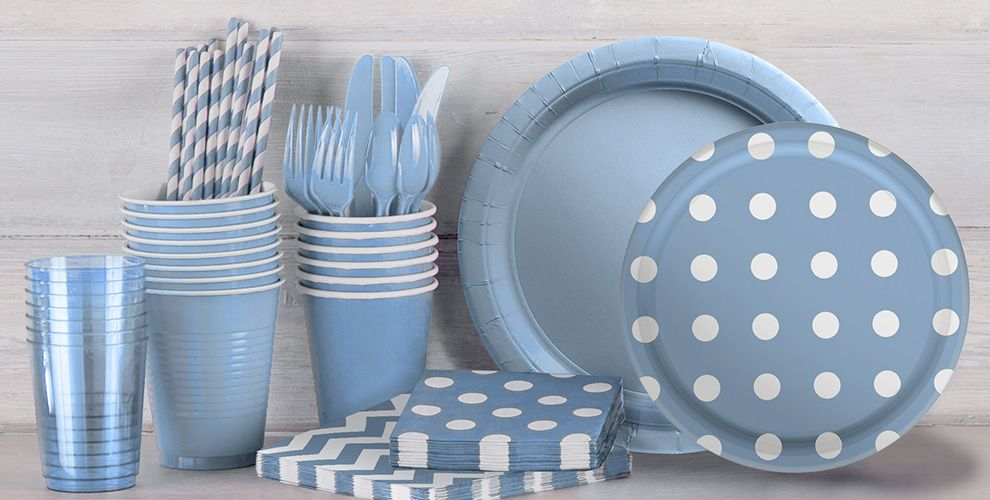 Pastel Blue Polka Dot and Chevron Tableware