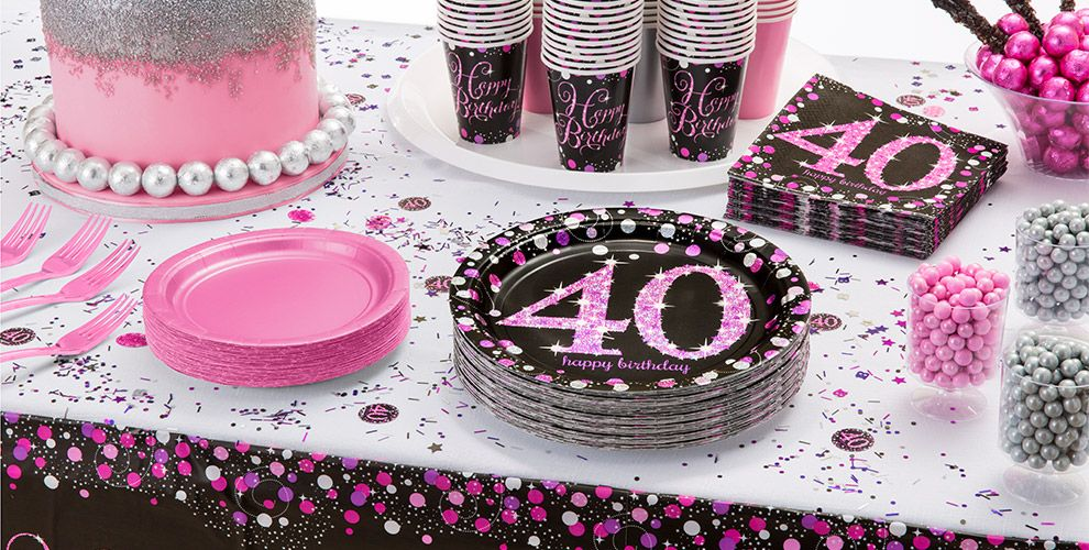 Patterned Tableware 50% OFF MSRP — Pink Sparkling Celebration 40th Birthday Party Supplies