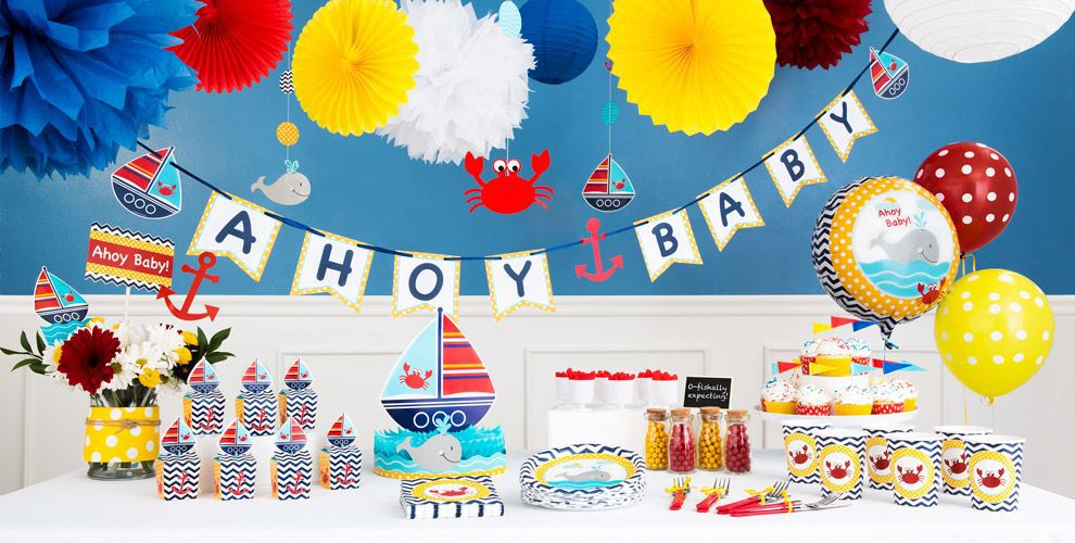 ahoy nautical baby shower decorations  party city, Baby shower invitation