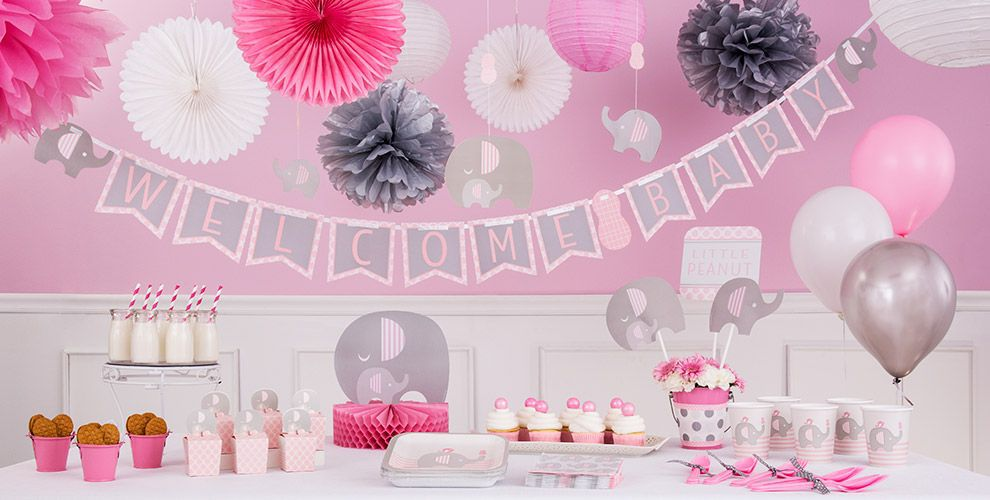 Pink baby elephant baby shower decorations party city - Pink baby shower table decorations ...