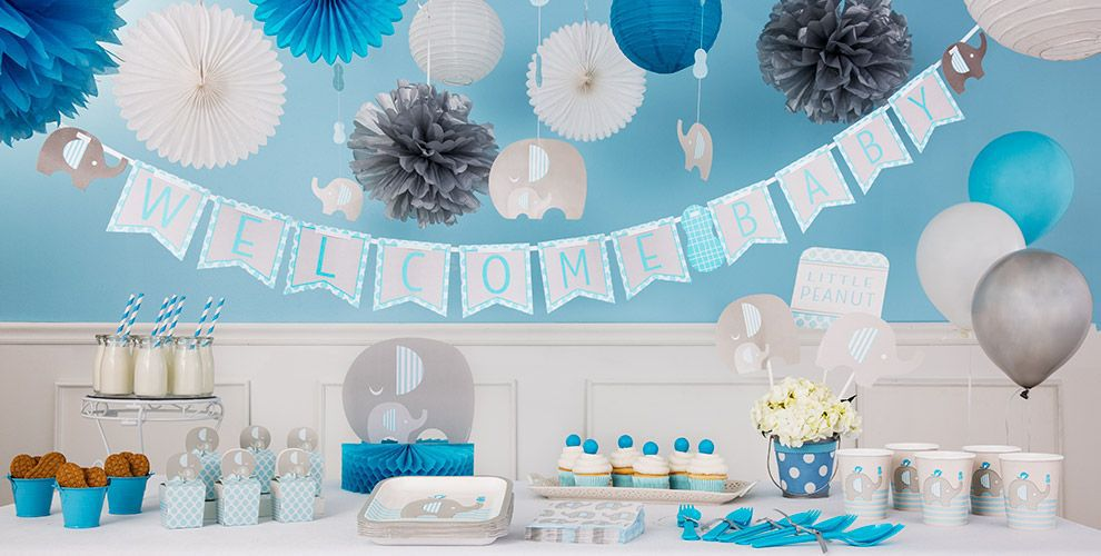 Blue baby elephant baby shower decorations party city for Baby shower decoration kits boy