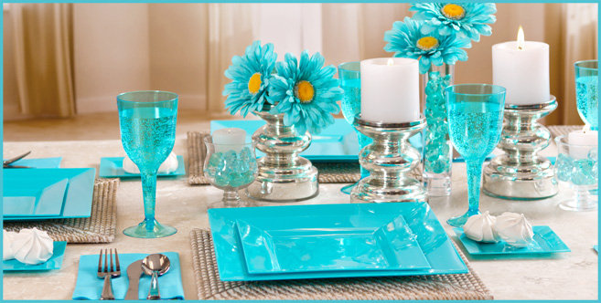 Solid Caribbean Blue Tableware #4