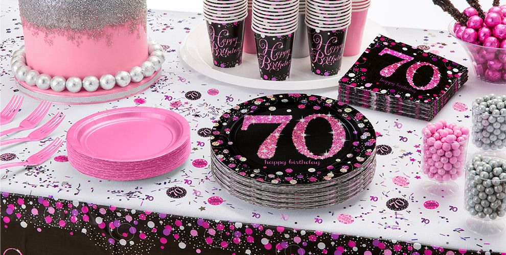 Pink sparkling celebration 70th birthday party supplies for Decoration 70th birthday