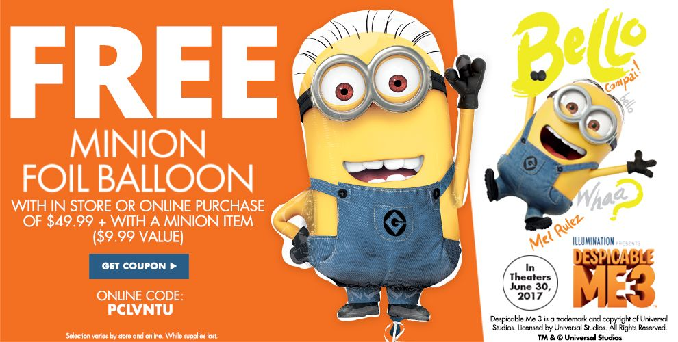 Free Minion Foil Balloons With in Store or Online Purchase of $49.99 + With a Minion Item — Minions Party Supplies