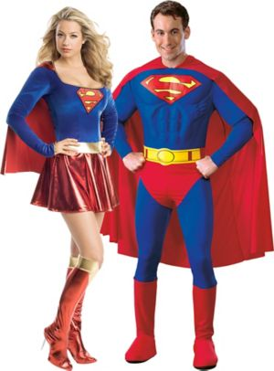 Adult Supergirl & Superman Couples Costumes