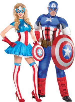 Adult American Dream & Captain America Couples Costumes