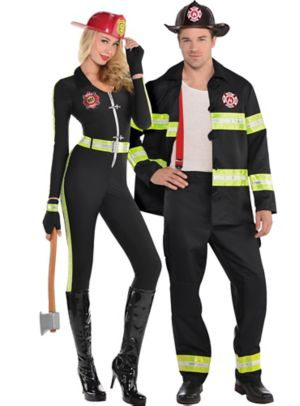 Adult Fired Up Firefighter & Rescue Me Firefighter Couples Costumes