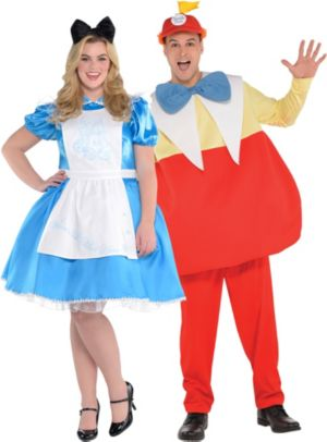 Adult Alice & Tweedledum Couples Costumes Plus Size - Alice in Wonderland