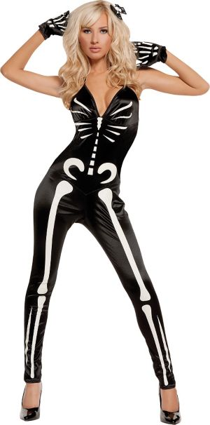 Adult Glow in the Dark Sexy Skeleton Costume
