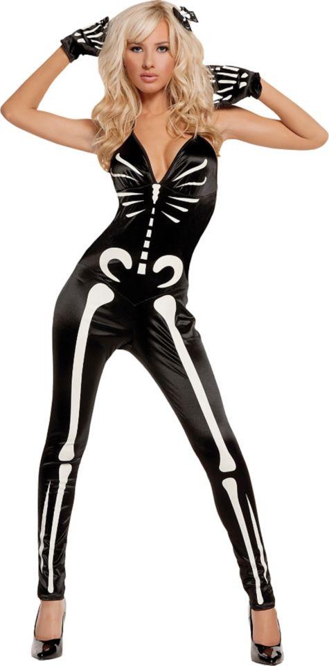 Womens Skeleton Costume Glow Dark Glow in The Dark Sexy Skeleton