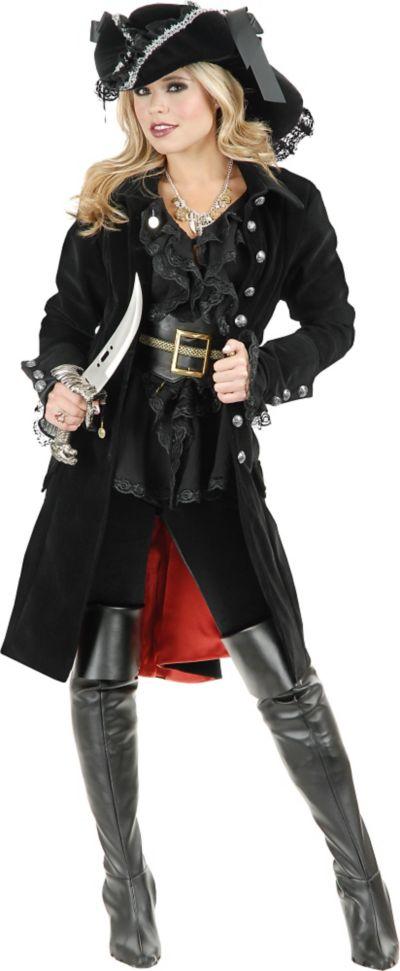 Adult Black Pirate Vixen Coat
