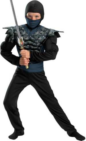 Boys Night Camo Ninja Muscle Costume