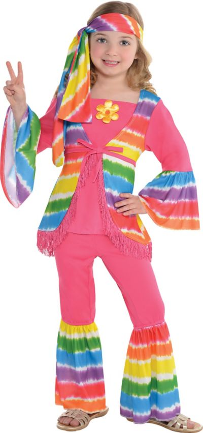 Girls Rainbow Groovy Hippie Costume