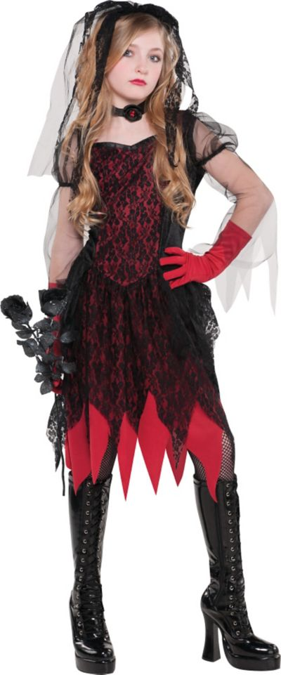 Girls Evil Bride Costume