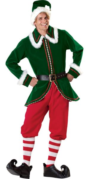 Adult Santa Elf Costume Elite