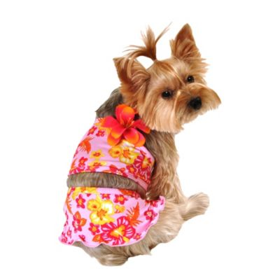 Pink Hawaiian Dog Swimsuit 2pc