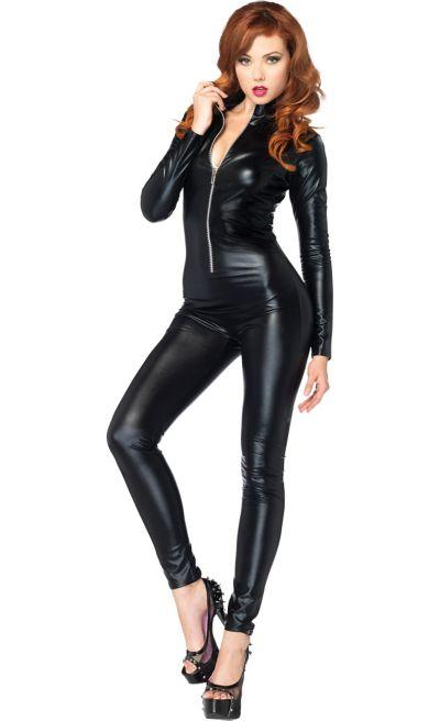 Adult Wet Look Black Catsuit