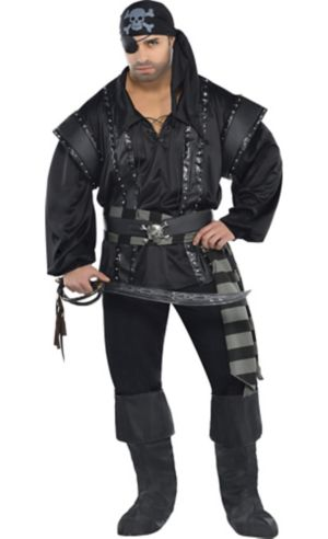 Adult Dark Sea Scoundrel Pirate Costume Plus Size