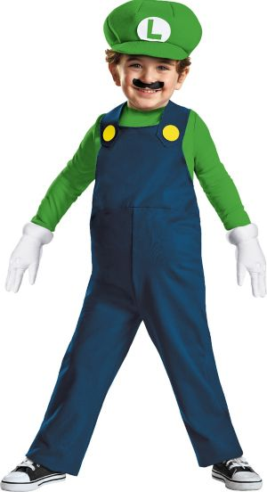 Toddler Boys Luigi Costume Deluxe- Super Mario Brothers