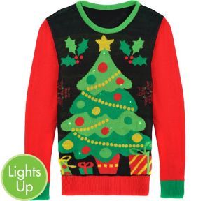 Light-Up Christmas Tree Ugly Christmas Sweater