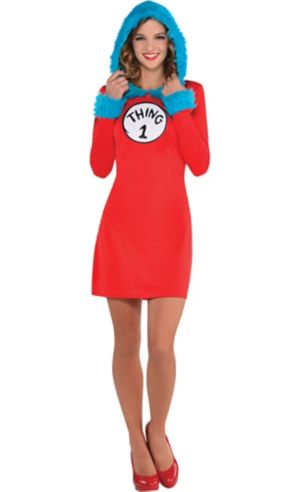 Adult Thing 1 & Thing 2 Hooded Long-Sleeve Dress - Dr. Seuss