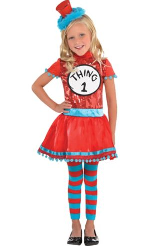 Toddler Girls Thing 1 & Thing 2 Dress Costume - Dr. Seuss