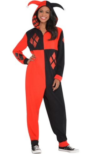 Adult Zipster Harley Quinn One Piece Costume - Batman
