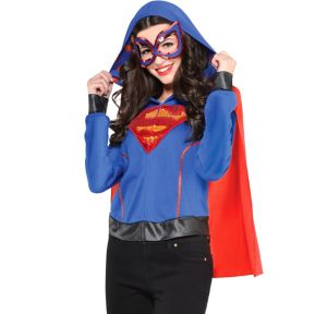 Adult Supergirl Hoodie with Cape - Superman
