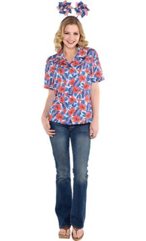Patriotic Red, White & Blue Hawaiian Shirt Accessory Kit