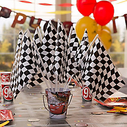 Cars Checkered Flag Centerpiece DIY