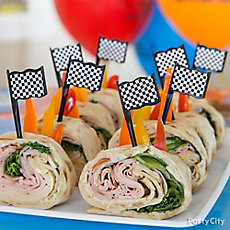 Hot Wheels Pit Stop Pinwheel Sandwiches Idea