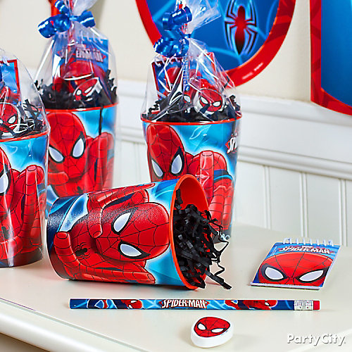 Spider man favor cup idea favor ideas spider man party for Spiderman decorations
