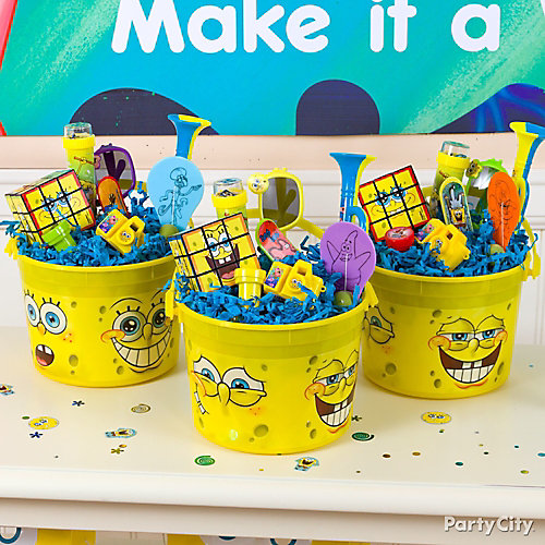 Spongebob favor bucket idea favor ideas spongebob for Backyard party decoration crossword