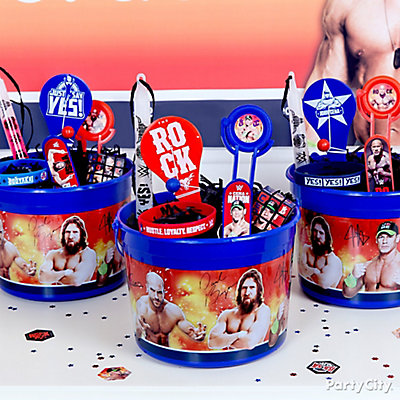 WWE Favor Bucket Idea
